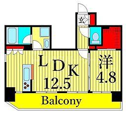 東京メトロ日比谷線 三ノ輪駅 徒歩6分の賃貸マンション 8階1LDKの間取り