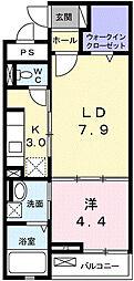 プリムヴェール 2階1LDKの間取り