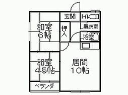 春駒橋ハイツ[2階]の間取り