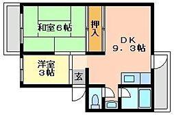 第2砥堀コーポラス[3階]の間取り
