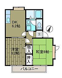 ピースフル・B[2階]の間取り