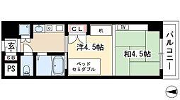 プログレンス栄 2階1Kの間取り