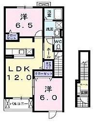 愛媛県伊予郡砥部町宮内の賃貸アパートの間取り