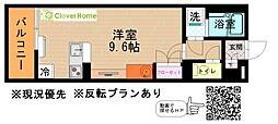 小田急小田原線 本厚木駅 徒歩20分の賃貸マンション 2階ワンルームの間取り
