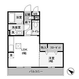 神奈川県相模原市中央区淵野辺本町1丁目の賃貸アパートの間取り