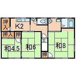2254渡辺アパート(下野寺)[2階]の間取り