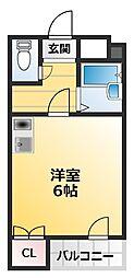 南海高野線 萩ノ茶屋駅 徒歩4分の賃貸マンション 1階ワンルームの間取り