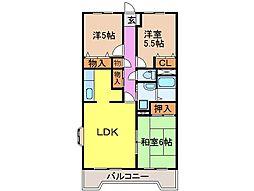 静岡県富士市蓼原の賃貸マンションの間取り