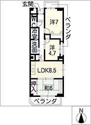 アビタシオン十番[2階]の間取り