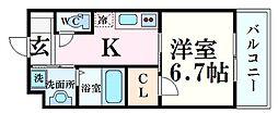 阪神本線 甲子園駅 徒歩20分の賃貸マンション 3階ワンルームの間取り