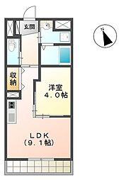 仙台空港鉄道 杜せきのした駅 徒歩10分の賃貸マンション 2階1LDKの間取り