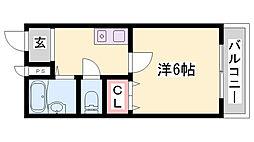 ルーキー東条マンション 4階1Kの間取り