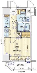 ララプレイス京町堀プロムナード 11階1Kの間取り