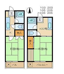 須藤ハイツ[203号室]の間取り