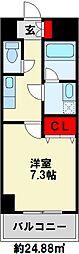 U.BASIC REEF三萩野 3階1Kの間取り