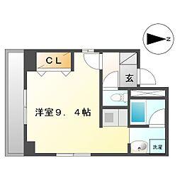 KJメゾン鹿島田 2階ワンルームの間取り