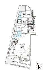 東京メトロ銀座線 表参道駅 徒歩12分の賃貸マンション 5階ワンルームの間取り