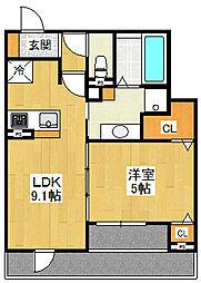 (仮称)西宮市大畑町D-room 1階1LDKの間取り