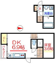 東武伊勢崎線 五反野駅 徒歩5分の賃貸アパート 2階1DKの間取り