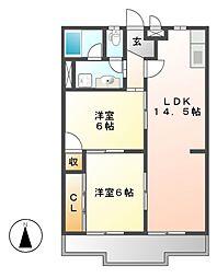 サンハイツ河合(カワイ)[3階]の間取り