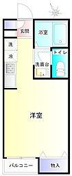 JR横浜線 十日市場駅 徒歩10分の賃貸アパート 1階ワンルームの間取り