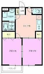 JR青梅線 昭島駅 徒歩23分の賃貸アパート 1階2DKの間取り