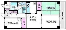 ネオコーポ大阪城公園2号館 13階3LDKの間取り