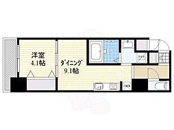 S-RESIDENCE江坂Eminence 3階1DKの間取り