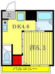 都営三田線 板橋本町駅 徒歩6分の賃貸マンション 2階1DKの間取り