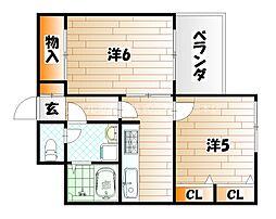 アヴィニール中井[2階]の間取り