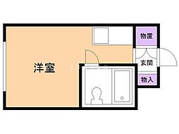 東栄マンション 1階ワンルームの間取り