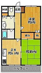 石田ハイツ 2階2DKの間取り