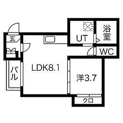 近鉄名古屋線 黄金駅 徒歩5分の賃貸アパート 3階1LDKの間取り