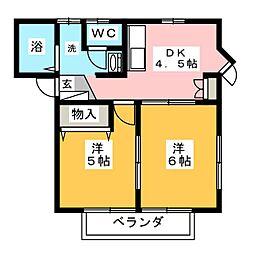 カーサマローネA棟[2階]の間取り