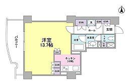 都営三田線 千石駅 徒歩5分の賃貸マンション 6階ワンルームの間取り