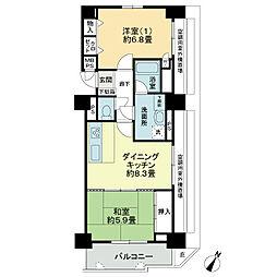 ライオンズマンション徳山[9階]の間取り