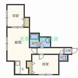 北海道札幌市東区北二十四条東9丁目の賃貸アパートの間取り