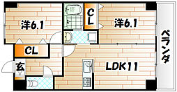 ニューシティアパートメンツ南小倉II[1階]の間取り