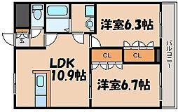 広島県広島市安芸区畑賀3丁目の賃貸アパートの間取り