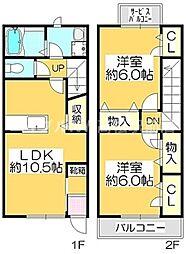 香川県高松市屋島東町の賃貸アパートの間取り