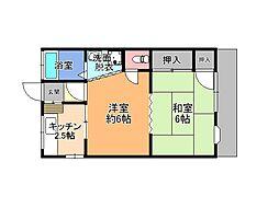 栃木県宇都宮市一条3丁目の賃貸アパートの間取り