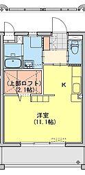 (仮称)都城牟田町マンション南棟 4階ワンルームの間取り