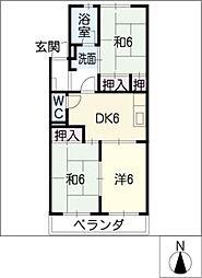 雁ケ音マンション[3階]の間取り