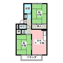 岡山県岡山市南区洲崎3の賃貸アパートの間取り