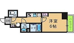 エグゼ阿倍野 12階1Kの間取り