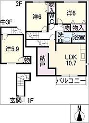 ラ・メルヴェイユII[2階]の間取り
