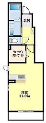 愛知県豊田市金谷町2丁目の賃貸アパートの間取り