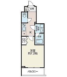 リシェス西早稲田 3階1Kの間取り