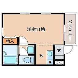 静岡県静岡市葵区城北2丁目の賃貸アパートの間取り