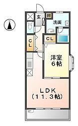 愛知県あま市甚目寺市場の賃貸マンションの間取り